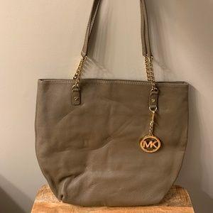 Gray Michael Kors Bag w/ Gold Chain Link Straps